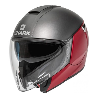 Casque jet Shark Citycruiser Dual Blank Mat rouge/anthracite