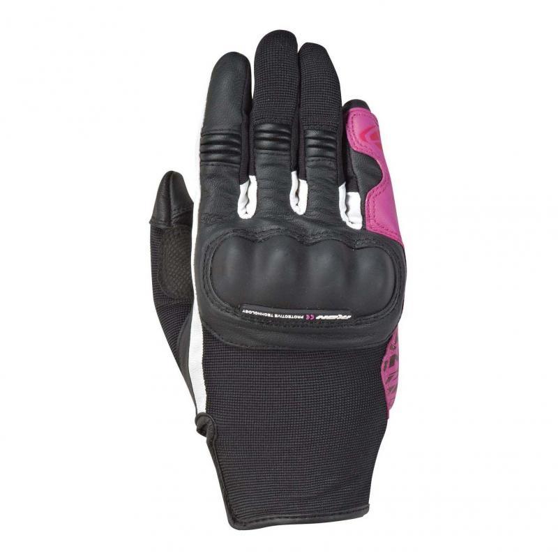 Gants été textile/cuir femme Ixon RS Grip 2 Lady noir/blanc/fushia