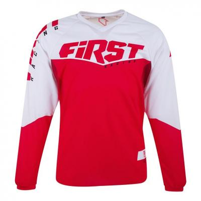 Maillot cross First Racing Scan Race blanc/rouge