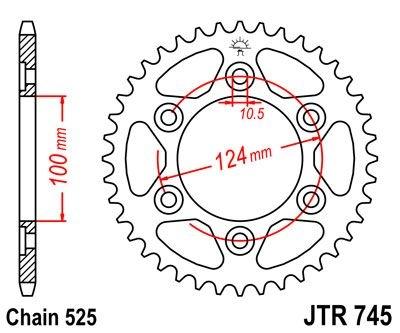 Couronne JT Sprockets Acier pas 525 39 dents - Pour Ducati Monster 100