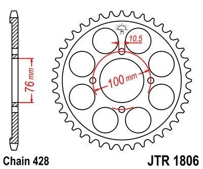 Couronne JT Sprockets Acier pas 428 53 dents - Pour Suzuki VL 125 Intr