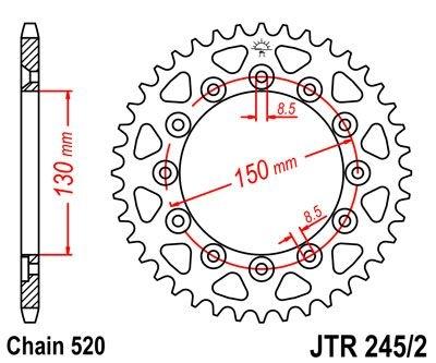 Couronne JT Sprockets Acier pas 520 53 dents - Pour Honda XL 250 S 78-