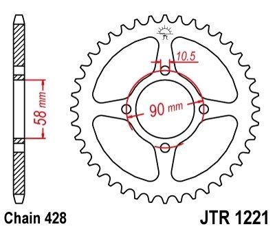 Couronne JT Sprockets Acier pas 428 44 dents - Pour Honda CBR 125 R 11