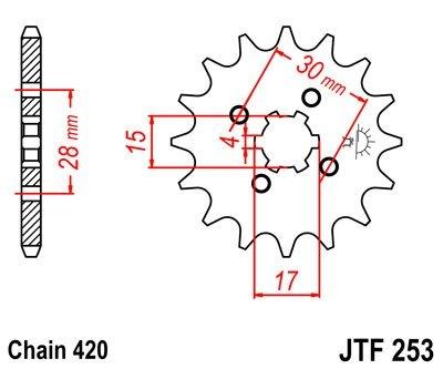 Pignon JT Sprockets Acier pas 420 12 dents - Pour Honda CR 80 R 80-85
