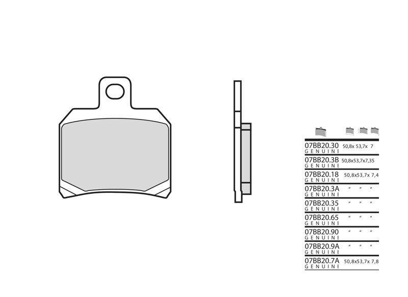Plaquettes de frein Brembo 07bb20 9a origine avant/arrière