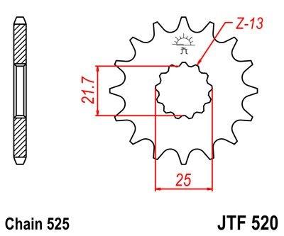 Pignon JT Sprockets Acier pas 525 17 dents - Pour Suzuki GSR 750 11-16