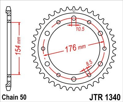 Couronne JT Sprockets Acier pas 530 44 dents - Pour Honda CB 1000 R 08