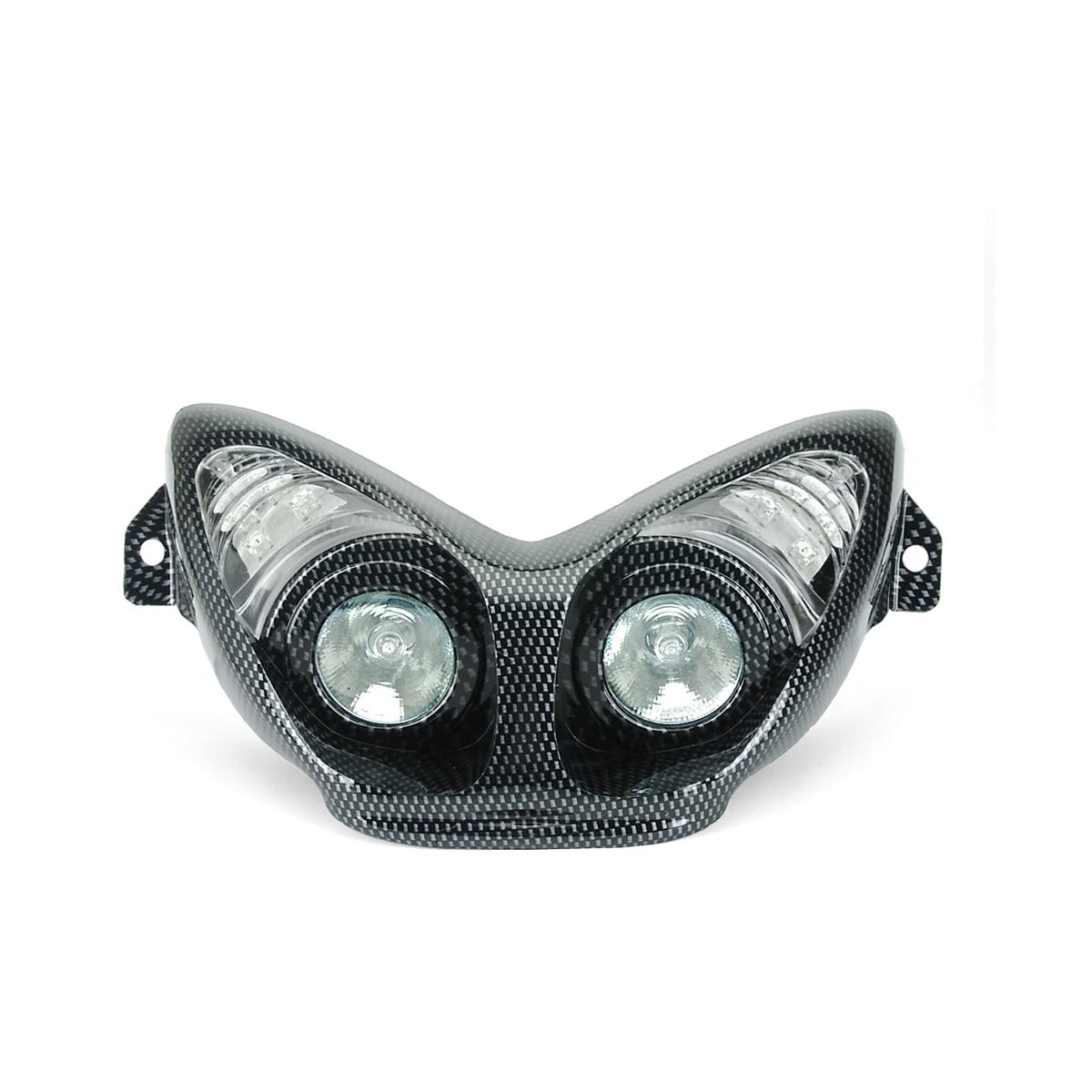 Masque Double Optique Halogènes + Clignotant Leds Nitro - Carbone