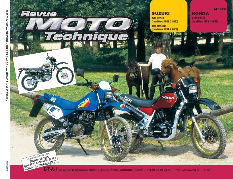 Revue Moto Technique 62.2 Suzuki DR 125 S / Honda XLV 750 RD - RF