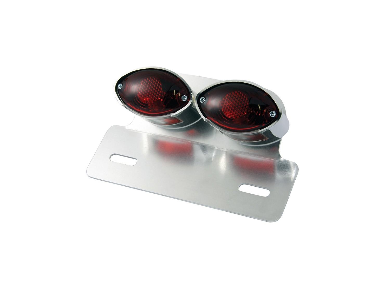 Feu arrière Twin Cat Eyes chromé avec support de plaque