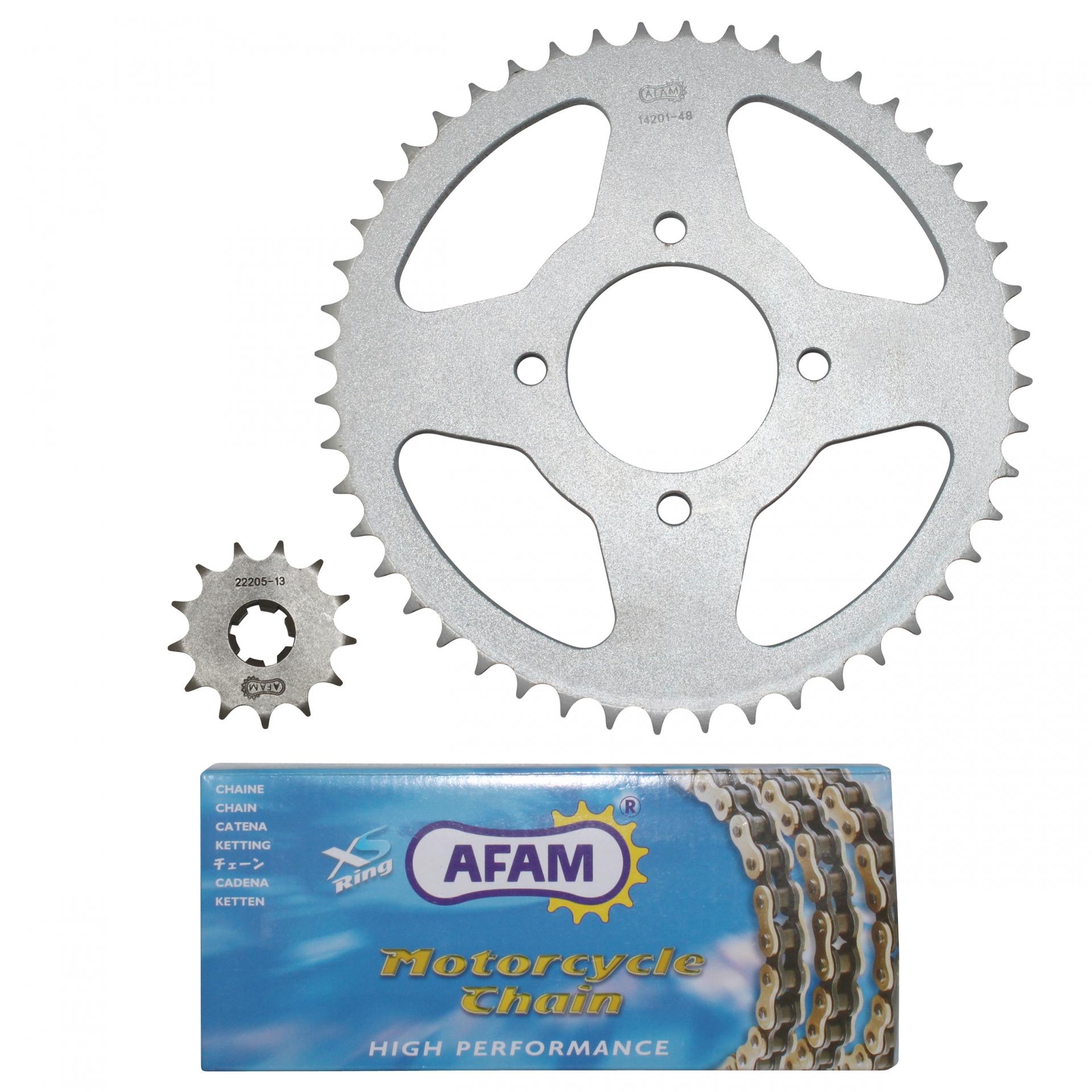 Kit chaîne Afam 13x48 Hyosung 125 Aquila 00-10