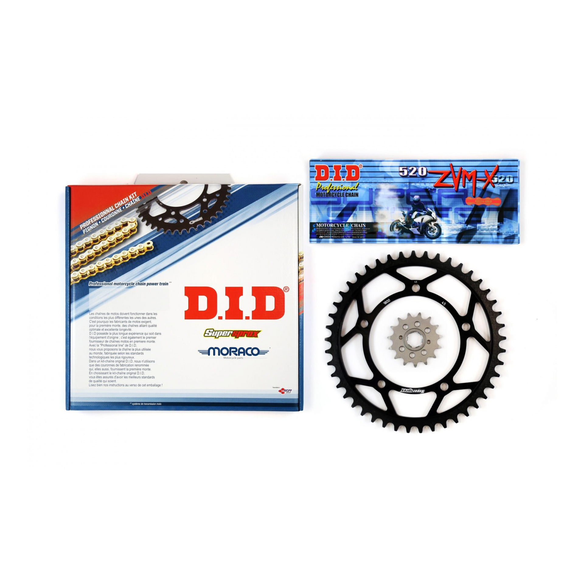 Kit chaîne DID acier Yamaha XVS 125 Dragstar 00-