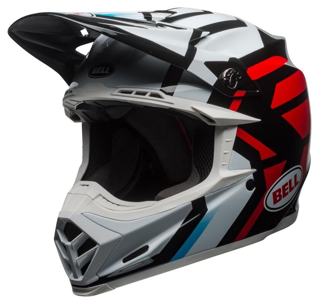 Casque cross Bell Moto 9 Mips Gloss blanc/noir/rouge - XS