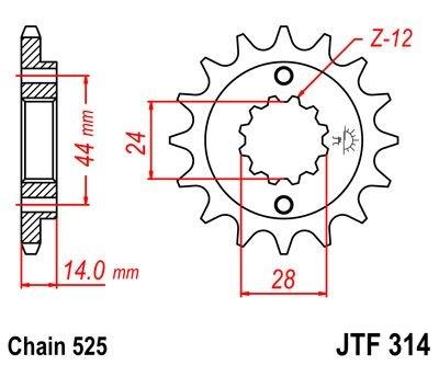 Pignon JT Sprockets Acier pas 525 16 dents - Pour Honda XRV 750 Africa