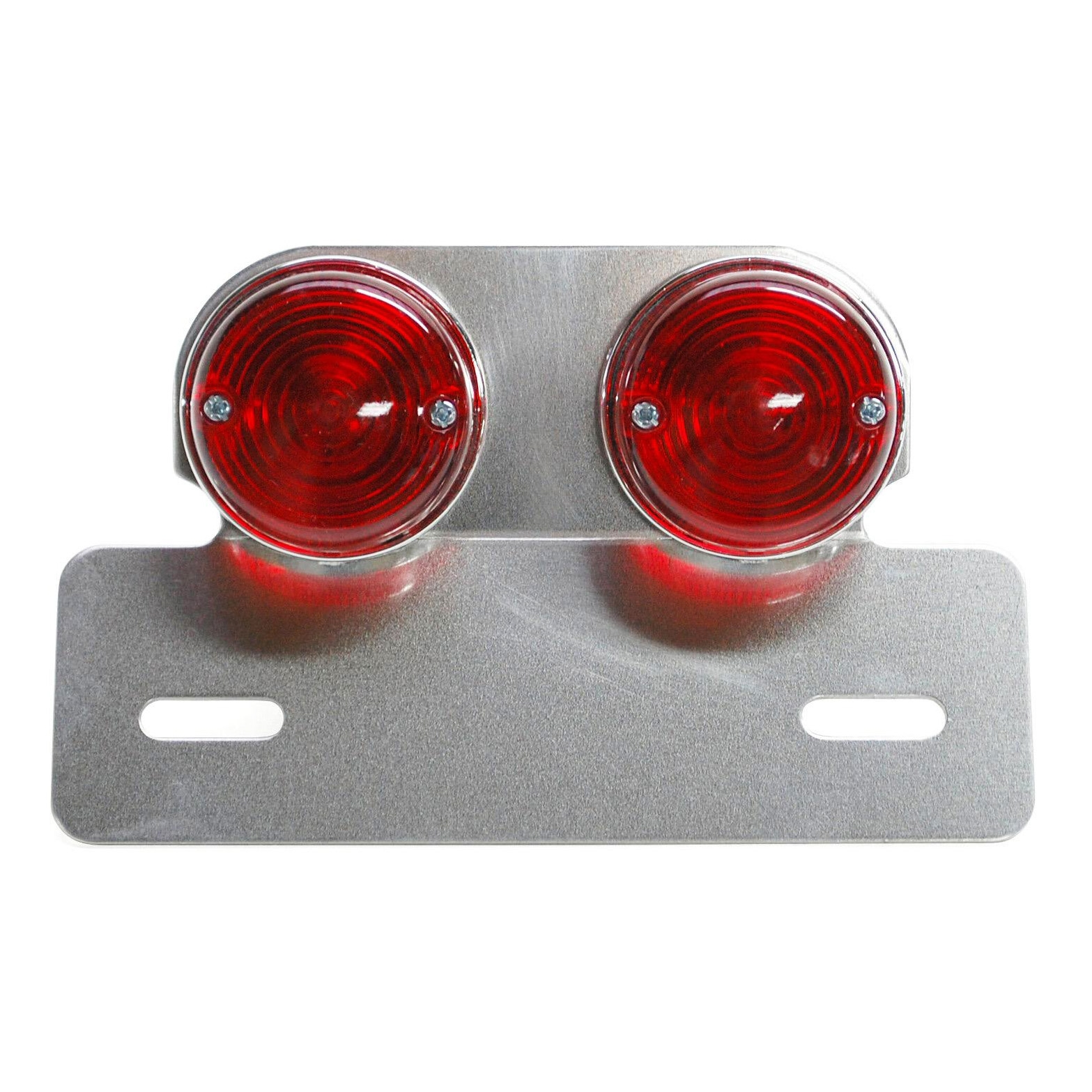 Feu arrière universel Replay sur platine argent 2 feux ronds rouges