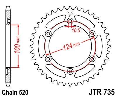 Couronne JT Sprockets Acier pas 520 45 dents - Pour Ducati Monster 696