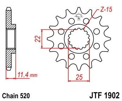 Pignon JT Sprockets Acier pas 520 14 dents - Pour KTM 620 LC4 Enduro 9
