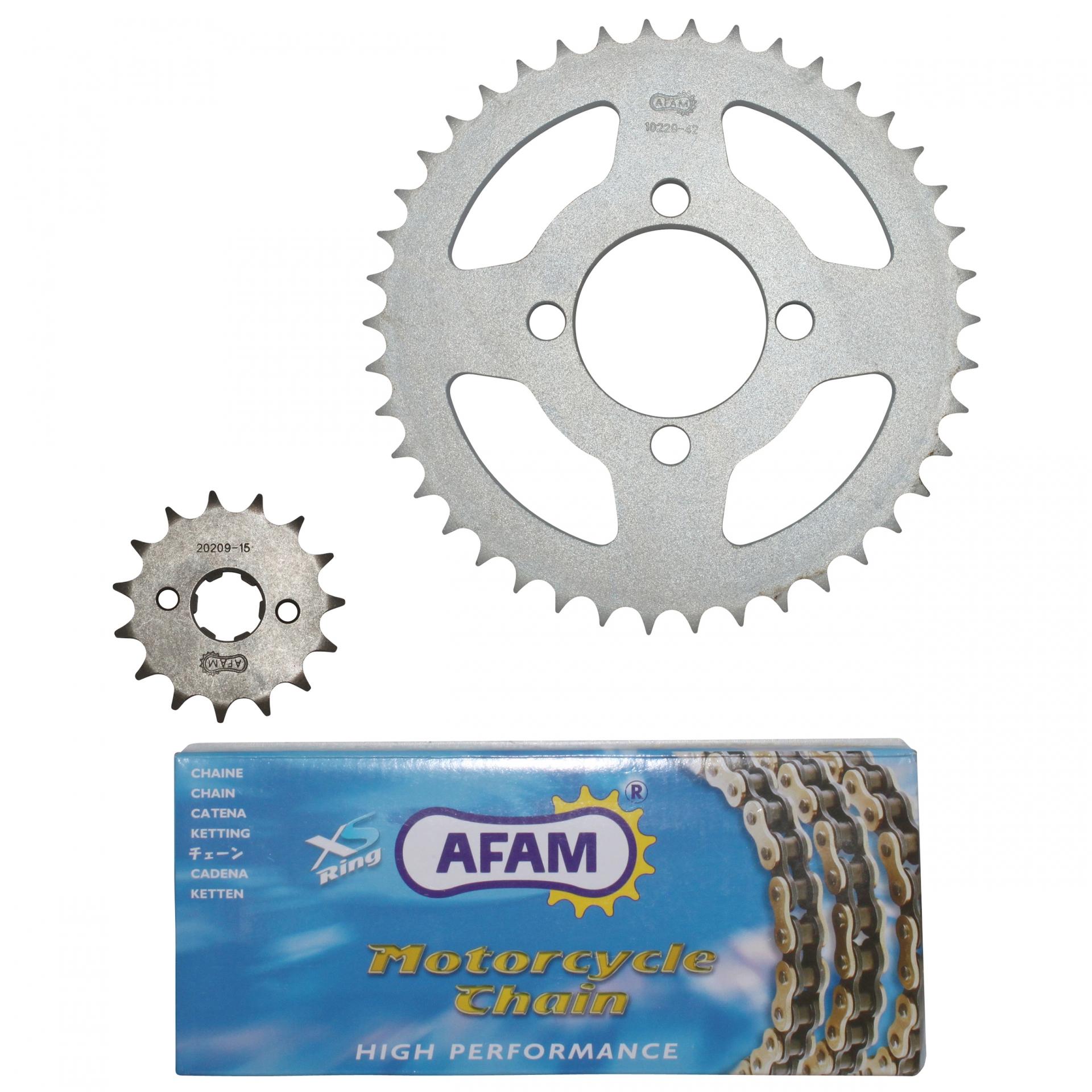Kit chaîne Afam 15x42 Honda 125 CBR R 04-10