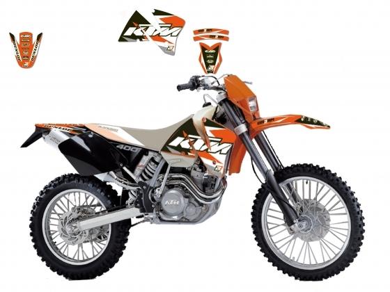 Kit déco Blackbird Dream Graphic 3 KTM 300 EXC 01-02 orange