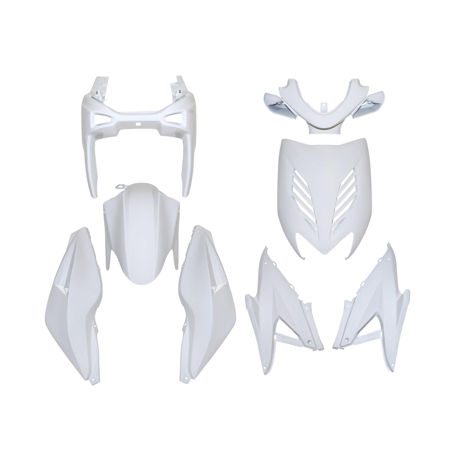 Kit carrosserie 8 pièces blanc brillant adaptable Nitro/Aerox