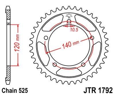 Couronne JT Sprockets Acier pas 525 48 dents - Pour Suzuki GSR 600 06-