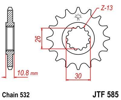 Pignon JT Sprockets Acier pas 532 17 dents - Pour Yamaha XJR 1200 95-9
