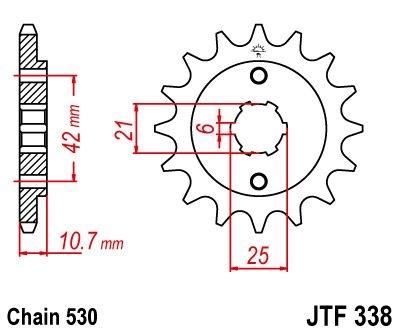 Pignon JT Sprockets Acier pas 530 16 dents - Pour Honda CB 650 Night H
