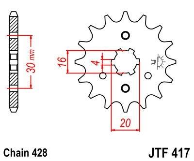 Pignon JT Sprockets Acier pas 428 14 dents - Pour Kawasaki KMX 125 86-