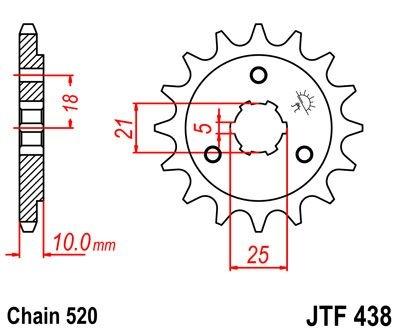 Pignon JT Sprockets Acier pas 520 15 dents - Pour Suzuki DR 800 90-98