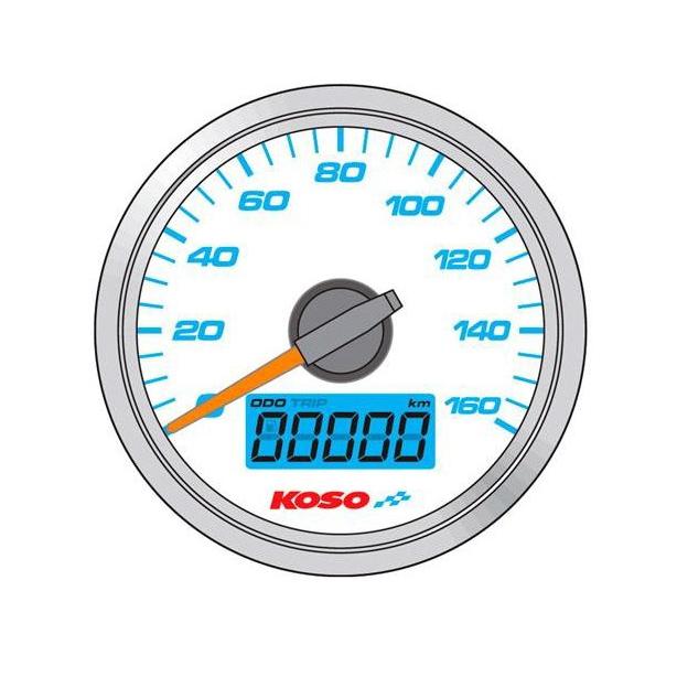 Compteur de vitesse Koso GP Style Ø 48 mm fond blanc
