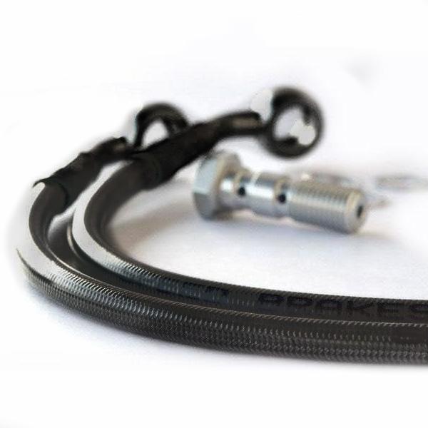 Durite de frein arrière aviation carbone raccords noirs Aprilia RS 125