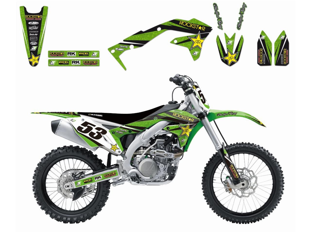 Kit déco Blackbird Rockstar Energy Kawasaki 250 KX-F 17-18 vert