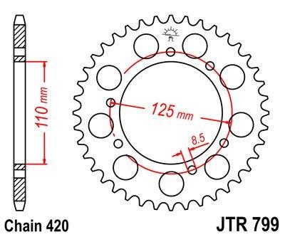 Couronne JT Sprockets Acier pas 420 50 dents - Pour Suzuki RMX 50 97-9