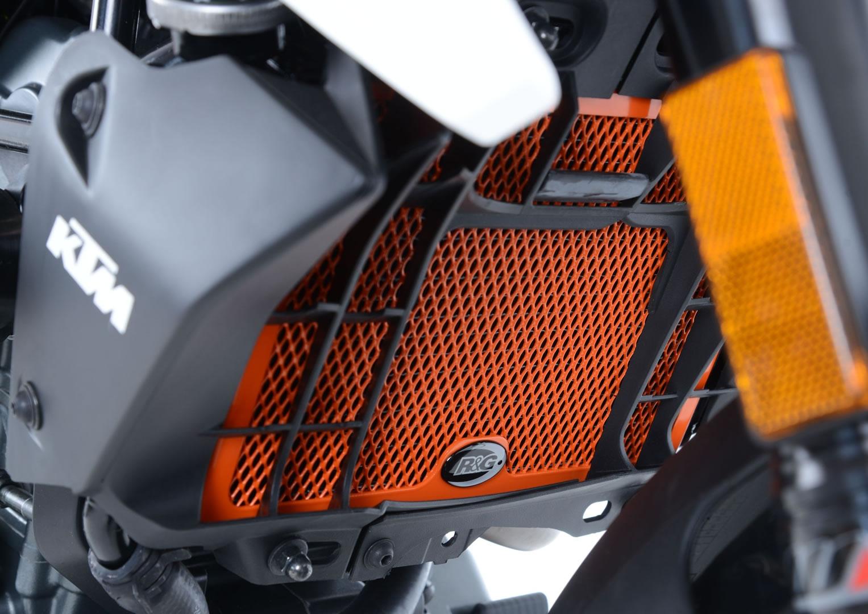 Protection de radiateur orange R&G Racing KTM Duke 125 11-18
