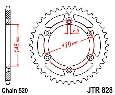 Couronne JT Sprockets Acier pas 520 42 dents - Pour Suzuki DR 600 S 85