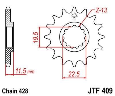 Pignon JT Sprockets Acier pas 428 14 dents - Pour Suzuki DR-Z 125 03-1