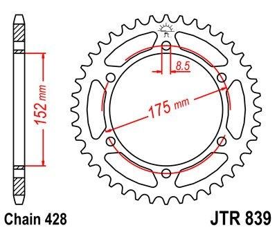 Couronne JT Sprockets Acier pas 428 57 dents - Pour Yamaha DT 125 R 90