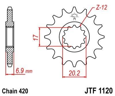 Pignon JT Sprockets Acier pas 420 11 dents - Pour Yamaha DT 50 R 03-06
