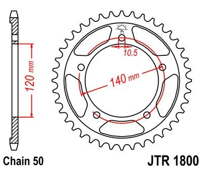 Couronne JT Sprockets Acier pas 530 44 dents - Pour Triumph Tiger 1050