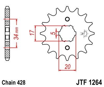 Pignon JT Sprockets Acier pas 428 15 dents - Pour Honda CBR 125 R 04-1