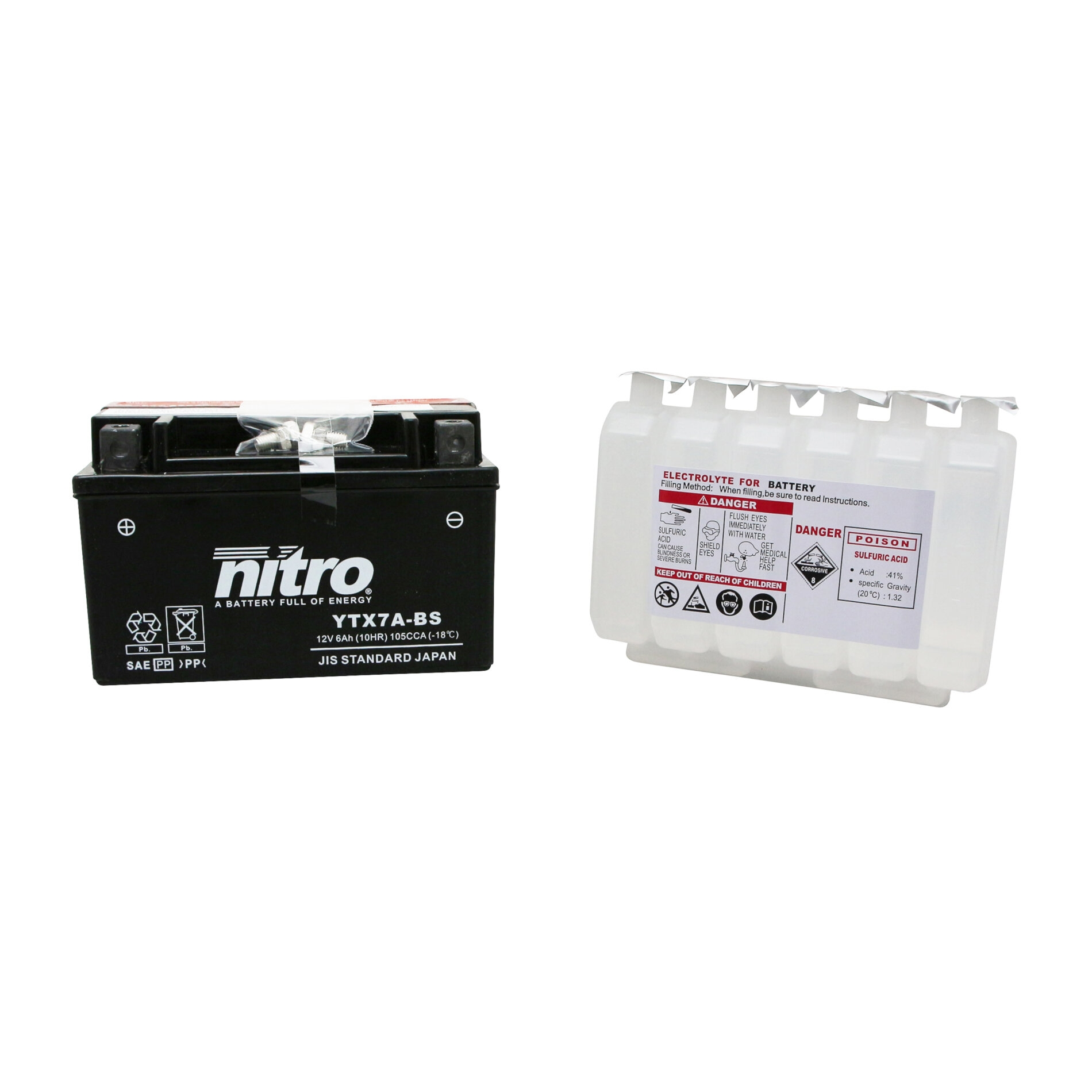 Batterie Nitro 12V 6 Ah YTX7A-BS