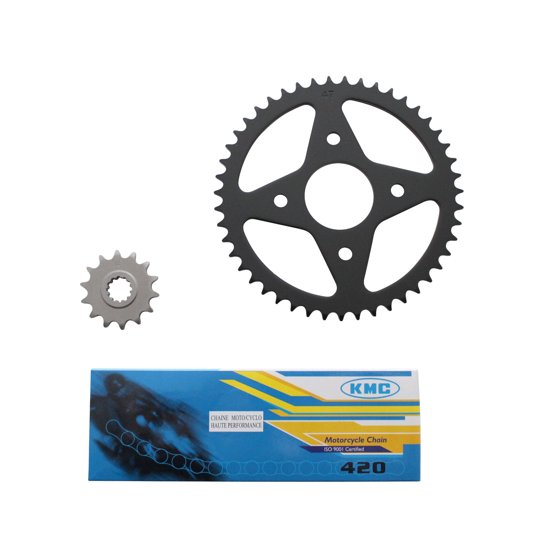 Kit chaîne 1Tek pas 420 14x47 adaptable Xpower/TZR