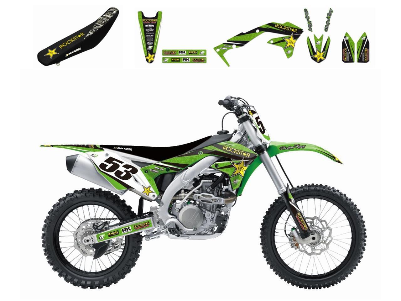 Kit déco + Housse de selle Blackbird Rockstar Energy Kawasaki 250 KX-F