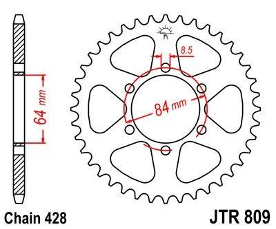 Couronne JT Sprockets Acier pas 428 53 dents - Pour Suzuki TS 125 78-8