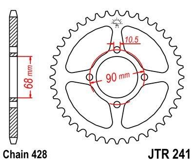 Couronne JT Sprockets Acier pas 428 53 dents - Pour Honda MTX 125 RW 8