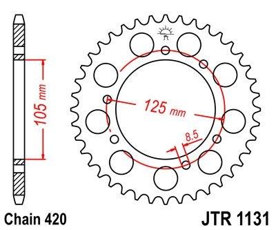Couronne JT Sprockets Acier pas 420 58 dents - Pour Yamaha DT 50 R 03-