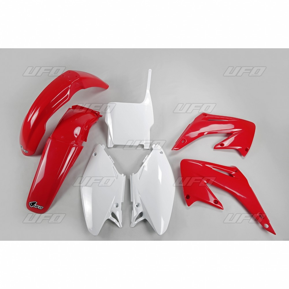 Kit plastique UFO Honda CR 125/250R 2004 rouge/blanc (couleur origine)