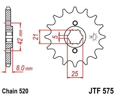 Pignon JT Sprockets Acier pas 520 14 dents - Pour Yamaha TT 600 E 96-9
