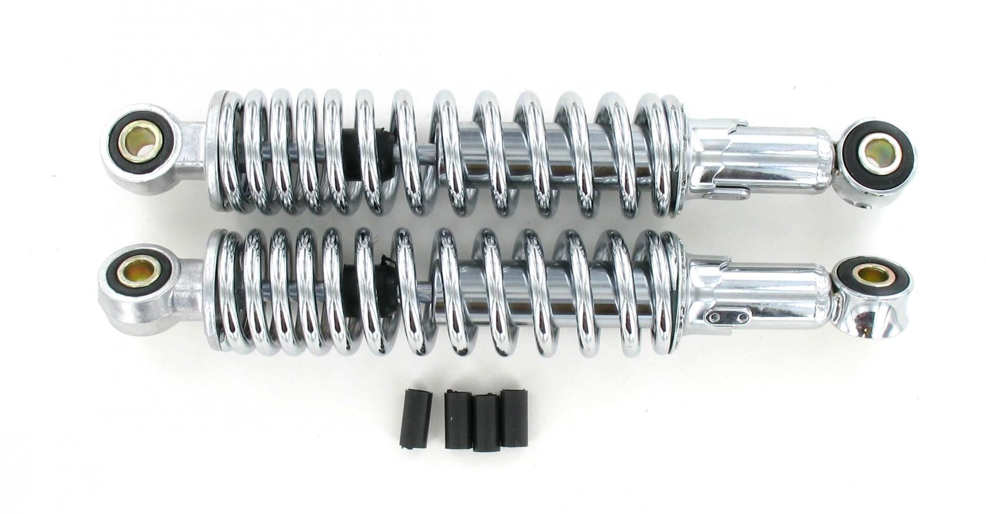 Paire d'amortisseurs mécaniques réglables chromés 360 mm