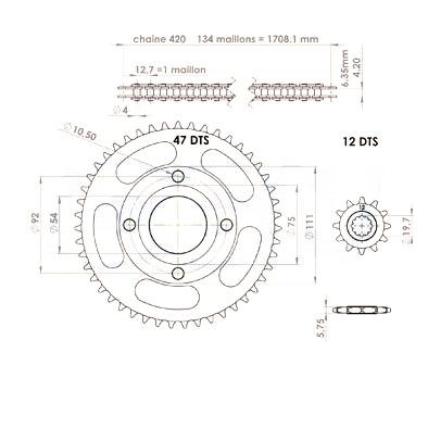 Kit chaîne 12x47 pas 420 MBK X-Power / Yamaha TZR -03